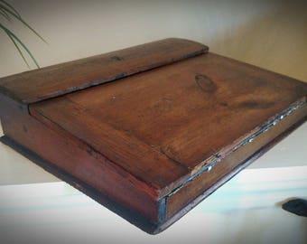 Antique Traveling Secretary Slant Top Portable Writing Wood Lap Desk Document Box Little Women Era