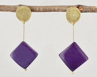 Purple tagua bead earrings, handmade spiral long stud, vegetable ivory, women gift under 30, geometric earring, diamond shape stud