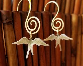 Brass swallow earrings