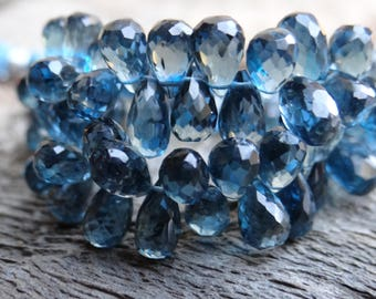 AAA Genuine Royal London Blue Topaz | 3D Faceted Pear Teardrop Briolettes | 7.5-11 x 4-6mm | Sold in Matched Pairs