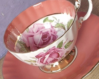 Antique Wedding gift for bride, Aynsley large Pink roses tea cup and saucer, orange teacup, English Bone china tea cup,