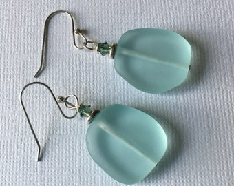 Aqua Sea Glass Dangle Earrings