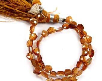 Natural Hessonite Garnet Gemstone,Faceted Fancy Beads,Wire Wrappped Making Jewelery,Gemstone Size 5-6 mm,Full 1 Strands X 8 inches,BL-50
