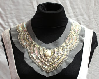 Beaded AB Cream Art-Deco Collar - JR09289