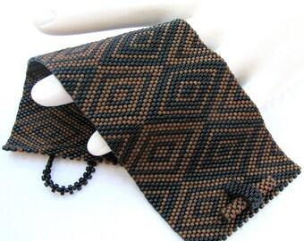 Cubism Diamonds Peyote Cuff in Your Custom Color Palette  (2412)
