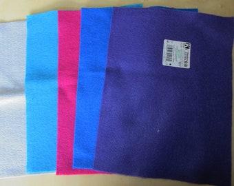 "5 Pieces of 9""x12"" (22.9cm x 30.5cm) Kunin Felt. Mixed Colours. Rainbow Classic Felt."