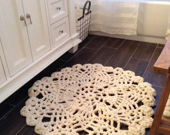 Hand Crochet Chunky Knit Doily Rug