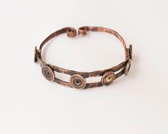 Copper bangle Stacking bangle bracelets Contemporary jewelry women Adjustable bracelet Bullet jewelry bracelets Military gift Women bracelet
