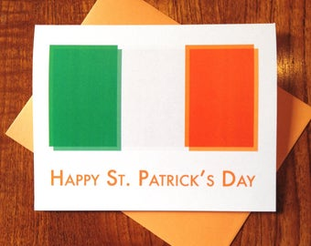 SALE - Irish Flag St. Patrick's Day Card on 100% Recycled Paper