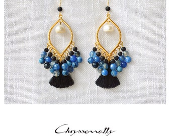 CGC027 - Gold boho luxe earrings with light blue agate and black lava stones, white pearls and black tassels