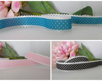 Polka Dot Ribbon. 3 Colours to Choose From. 1m Lengths.