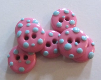 Pastel Polka Dots ~ Set of 6 Buttons