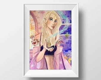 Elf Sorceress Art Print
