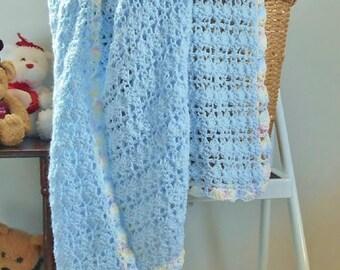 Blue Crochet Baby Blanket Handmade Afghan Boy or Girl Gift Pastel Border Soft Knitted Toddler Binky