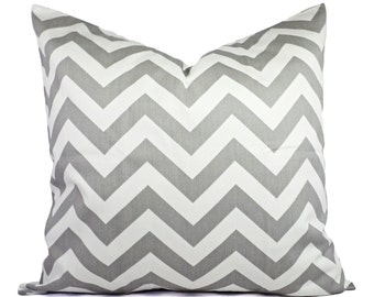 Two Grey Chevron Pillow Covers - Grey and White Throw Pillows - Throw Pillow Cushion Cover Accent Pillow - Grey Pillows