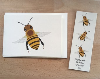 Bee Gift, Bookmark and Card, Personalised, Birthday Gift, Fathers Day Gift, Booklover Gift, Bookworm Gift, Insect Gift, Bumblebee, Bee Art
