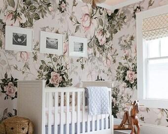 Roses, Floral, Pastel wall mural, Pale, Vintage wallpaper, Self adhesive, Reusable, Kids wallpaper, Nursery wall mural #26