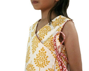 Criss-Cross Reversible Wrap Dress Instant Download PDF Sewing Pattern for Toddlers and Girls in Sizes 1-6 by Peach Patterns