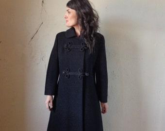 black dress coat/ sequin toggle buttons/ vintage 50s// sm.med