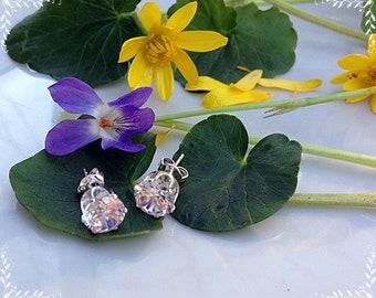 Earrings with zircon, Earrings with crystal, Stud earrings, Cubic zirconia, White earrings, Cubic zircon AAA, Gentle earrings,