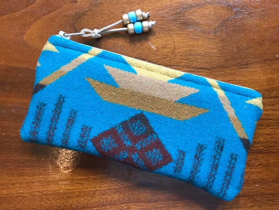 Wool Glasses  Case / Tampon Case / Zippered Pouch Turquoise Coyote Butte