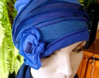 Chemo Hat Headwear Womens Beanie Cloche Camo Print with Blue Flower