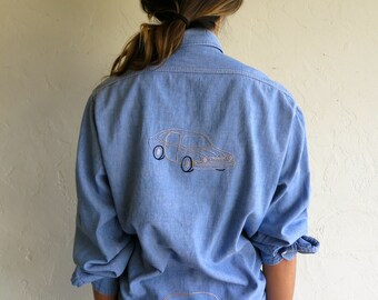 Vintage 70s Embroidered Chambray Shirt