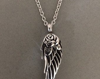 Angel Wing Ashes Holder Urn Jar Cremation Memorial Necklace Pendant Locket