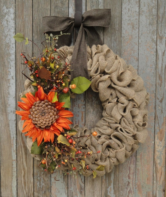 Items Similar To Fall Sunflower Wreath, Fall Burlap Wreath