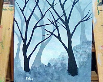 Misty Morning 11 x14 Original Acrylic Painting