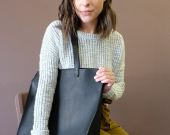 Large Leather Tote, Black Natural Leather Caryall, Structured: The BEHEMOTH TOTE in Matte Black Leather by Awl Snap