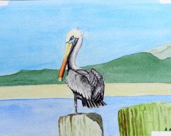 Perching Pelican, 6x9, Original Watercolor Painting