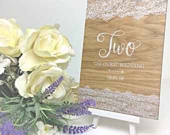 Personalised Perspex Wedding Table Numbers - different designs available