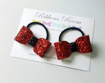 Red Hair bobbles,glitter hair bow,girls hair bobbles,Toddlers hair bobbles,birthday gift for girls,bobbles for girls,glittery bows, red bows