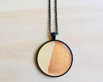 38mm Black Pendant Necklace • Copper Leaf and Wood • Resin • 76cm Black Rolo Chain • Lobster Clasp • Nickel Free