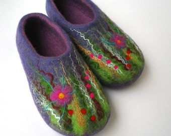 Felted wool slippers / house shoes - Purple Meadow