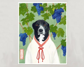 Art Print - Black & White Dog - Signed by Artist - 3 Sizes - S/M/L