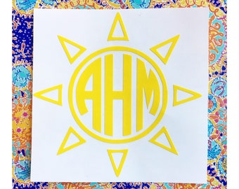Sun Monogram Decal | Yeti Cup Decal | Tumbler Decal | Car Decal | Laptop Decal | Custom Decal | Vinyl Decal