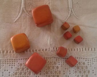 Set of 9 wooden cubes beads / orange color