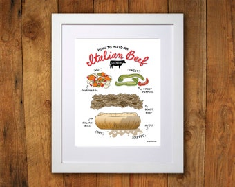 Chicago Italian Beef Art Print - 8x10 and 11x14