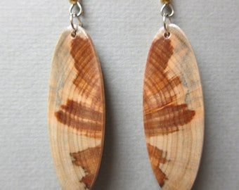 Monkey Puzzle, Exotic Wood Earrings, ExoticWoodJewelryAnd Butterfly wings Hypoallergenic wires