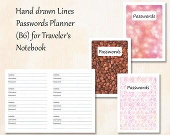 B6 TN   3 covers   Hand drawn Lines Passwords Planner for Traveler's Notebook   Planner Insert