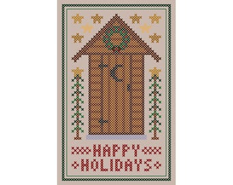 Santa's Outhouse - Original Cross Stitch Christmas Ornament Chart