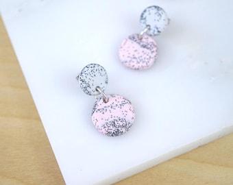 Drop earrings, dangle earrings, post earrings, small earrings, polymer clay jewelry, pink earrings, pale pink dangles, everyday earrings