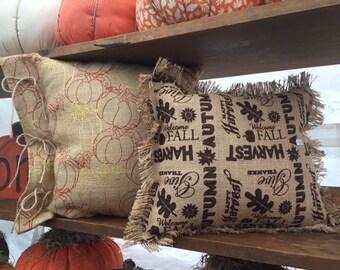 Fall Burlap Pillows