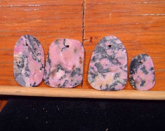 RHODONITE PENDANT BEADS 4 beads