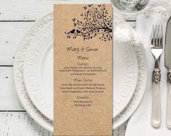 Wedding Menu Template, Rustic Wedding Menus, Table menus, Manu cards, Wedding menu printable