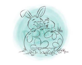 Easter Bunny and Chick behind Egg- Digital Stamp Art/ KopyKake Image- SP67-BUNCHICK