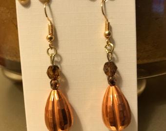 Polished brass earrings