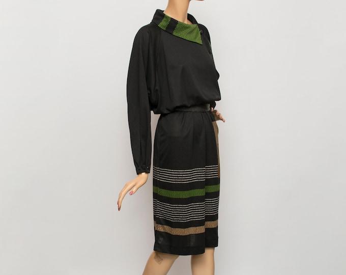 80s Vintage black green dress  dead stock